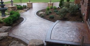 Decorative concrete flatwork installation in Concord, North Carolina